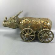 9.4 Exquisite Chinese Old Antique Bronze Ware Four Wheels Ox Cart Statue