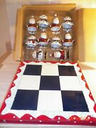 Vintage Home Interiors Tic Tac Toe Board With 11 Metal Figures Santa And Snowmen