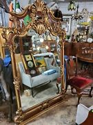 Antique Large Carved Wood Frame Mirror 81.5andprime Tall Andndash Wow