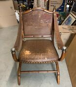 Very Rare Danish Chair In Carved Oak Leather Arm Straps
