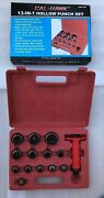 13-in-1 Hollow Punch Set Felt Leather Rubber Plastic Hole Red Case New