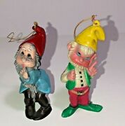Vintage Pair 2 Christmas Tree Ornaments Disney Snow White And 7 Dwarfs Characters
