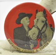 Early 1950's Hopalong Cassidy And Topper 1.75 Pinback Button
