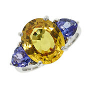 18ct White Gold 5.70ct Sapphire And 1.20ct Tanzanite Trilogy Ring Rrp Andpound4200 Jx7