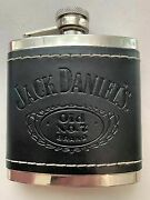 Jack Daniels Old No.7 Flask Embossed Black Leather-covered Stainless 5 Oz B-87