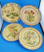 4 Hand Painted Ceramic Flowers And Script 11 Andfrac12andrdquo Wall Plates Italy Excellent