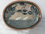 Vintage Ceramic Hanging Dish Plate Jimon Mexico Hand Painted Rabbits Floral