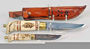 Beautiful Vintage Norge Custom Hand Made Carved Handle Knife Set From Norway