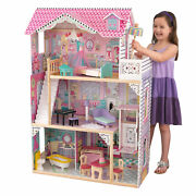 Wooden Dollhouse Kits Large Furniture Play House 17 Accessories Toy Girl Mansion
