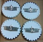 Caprice Wire Wheel Chips Emblems 4 White And Chrome Metal Size 2.25 Zenith Style