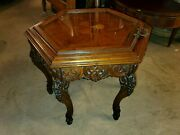Antique Hand Made Small Serving Side Table With Glass Tray