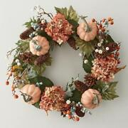 Fall Hydrangea Pumpkin And Pinecone Wreath Natural Twigs And Vines 22 Dia.