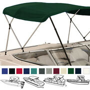 Bimini Top Boat Cover Green 3 Bow 72l 54h 91-96w - W/ Boot And Rear Poles