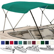 Bimini Top Boat Cover Teal 3 Bow 72l 54h 91- 96w - W/ Boot And Rear Poles