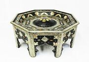 Moroccan Coffee Table Center Piece Black Authentic Handmade Decor Glass Top