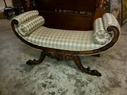 Antique Hand Carved Window Or Parlor Bench Andndash Beautiful Fabric Andndash Excellent