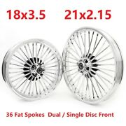 Fat Spoke 21 And 18 Chrome Wheels Rims Set For Softail Fxst Dyna Fxdwg Low Rider