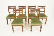 Antique Victorian Chairs Set Of 6 Carved Oak Dining Chairs Scotland 1890 B2086