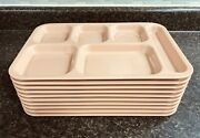 10 Vintage Dallas Ware Old School Cafeteria Melmac Lunch Trays Divided Peach