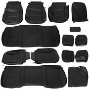 For 2013-2018 Dodge Ram Crew Cab 1500 2500 3500 Black Seat Covers Leather Kit