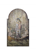 Creative Co-op Vintage Mary And Angels Image On Decorative Wood Wall D�cor