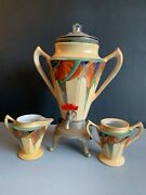 Rare Royal Rochester Fraunfelter Modernistic Pattern Coffee Service 1928