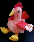 Retired Original Ty Beanie Baby Doodle Rooster 3-8-96 Tag Errors Pvc Pellets