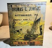 Rare Antique Thomas C. Jenkins Pittsburgh, Pa Large Cloves Store Tin With Labels