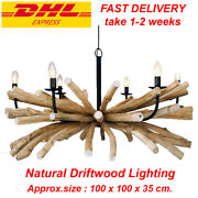 Natural Driftwood Rustic Lamp Unique Chandelier Barn Max Bulb 40w X 6 Home Decor