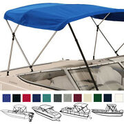 Boat Bimini Top Cover Blue 3 Bow 72l 36h 73-78w With Boot And Rear Poles