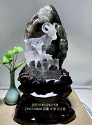 16and039and039 Natural White Rock Crystal Quartz Handcarved Auspicious Wealth Three Sheep