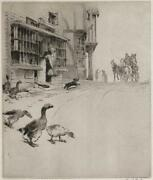 Cecil Aldin 1870-1935 Signed Etching The Village Post Office 25/100