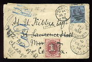J22 Postage Due Stamp On Very Busy Cover From England To Canada To Us J22-75