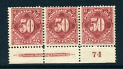 J37a Postage Due Rare Mint Plate Strip Of 3 Stamps Stock J37-13