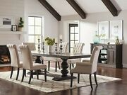 7 Pc Formal 10 Ft Trestle Dining Table And Tufted Beige Linen Chairs Furniture Set