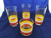 Vintage Georges Briard 3- Highball 1-rocks Striped Glasses Candy Corn