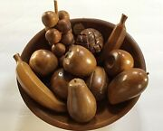 Vtg Mid Century Modern Woodcroftery Fruit And Oval Bowl Set Hardwood 11 Pieces