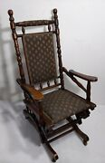 Antique Victorian Solid Turned Wood Rocking Chair Rocker Eastlake Style