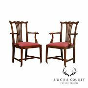 W. Walker And Sons Antique Chippendale Style Pair Mahogany Armchairs