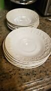 Wedgwood Embossed Queensware Cream On Cream Shell Edge 10 5.5 Saucer Plates