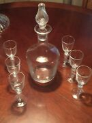 Exquisite Crystal Liquer Decanter W/ 6 Matching Glasses Hand Blown Signed Stop