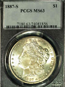 1887-s 1 Ms63 Pcgs White And Frosty Morgan Dollar