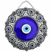 Erbulus Turkish X-large Glass Blue Evil Eye Wall Hanging Ornament With Round ...