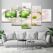Chrysanthemum And Candle 5 Piece Canvas Print Poster Home Decor Wall Art