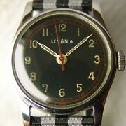 Vintage Steel Mens Lemania Military Wwii Period Wristwatch Good Condition