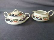 Vintage/antique Mercer Pottery/china Cream And Double Handle Sugar Bowl/lid Set