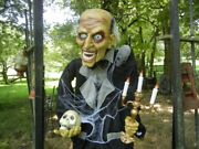 Animated Life Size 6 Foot Butler With Rat / Candelabra Talks / Lighted Halloween
