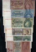 Germany Lot 6 Banknotes Nazi Era 5 To 1000 Reichsmark 1935-1945 Almost Unc