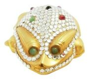 Judith Leiber Gold Frog Pillbox Vintage Trinket White Crystals Rare Collectable
