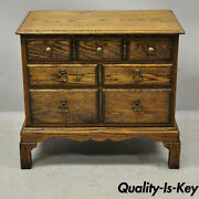 Vintage English Colonial Miniature Oak Wood Small Campaign Chest Side Table
